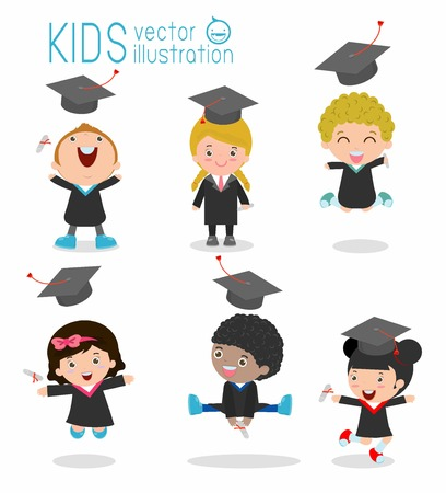 set of Graduation kids, happy child graduates, happy kids jumping, Graduates in gowns and with diploma, students graduation on white background, illustration Vettoriali