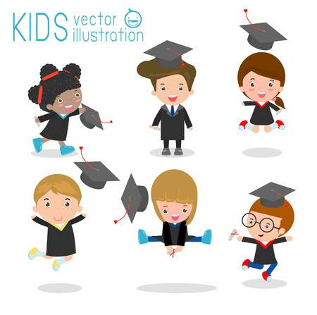 college girl: set of Graduation kids, happy child graduates, happy kids jumping, Graduates in gowns and with diploma, students graduation on white background, illustration Illustration