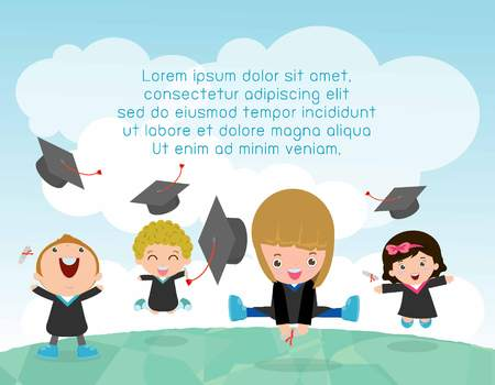 Graduation kids, happy child graduates, happy kids jumping, Graduates in gowns and with diploma, students graduation, illustration