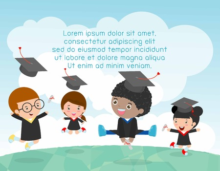 graduation gown: Graduation kids, happy child graduates, happy kids jumping, Graduates in gowns and with diploma, students graduation, illustration Illustration