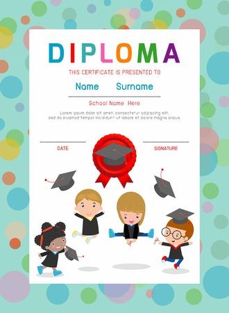 marcos decorativos: Certificados de jardín de infantes y primaria, preescolar Niños certificado del diseño del fondo del Diploma, Modelo del diploma para los estudiantes de jardín de infantes, niños Certificado de diploma, ilustración