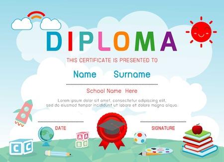 cute cartoon kids frame: kid diploma kindergarten