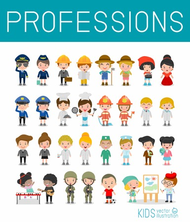 female cop: Kids Vector Characters Collection isolated on white background, professions for kids, children profession, different people professions characters set, kids profession, different professions