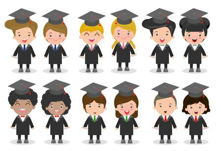 nationalities: set of Graduation kids, happy child graduates, Graduation children,Graduates in gowns and with diploma, students graduating, university students graduation,people graduation, Different nationalities Illustration