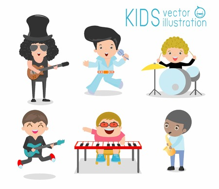 Kids and music, Children playing Musical Instruments, child and music, kids playing Musical, illustration of Kids playing different musical instruments, Musical, music, guitar drums bass saxophone. Vettoriali