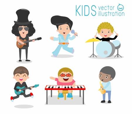 Dzieci i muzyka, Dzieci grają na instrumentach muzycznych, dziecko i muzyka, dzieci bawiące muzycznych, Ilustracja dzieci grających różne instrumenty muzyczne, musical, muzyka, bębny gitara basowa saksofonie. Ilustracje wektorowe