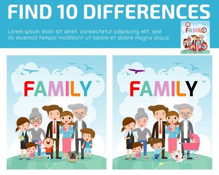 niño preescolar: encontrar las diferencias, juegos para niños, encontrar diferencias, juegos cerebrales, los niños juego, juego educativo para niños en edad preescolar, juegos para niños, encontrar las 10 diferencias, familia Vectores