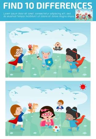 trouver des différences, jeu pour les enfants, trouver des différences, des jeux de cerveau, les enfants, jeu éducatif pour les enfants d'âge préscolaire, jeu pour enfants, trouver 10 différences, super héros enfants