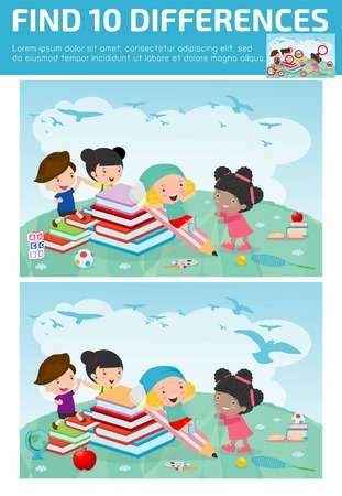 preschool child: find differences,Game for kids ,find differences,Brain games, children game, Educational Game for Preschool Children, Game for child,find 10 differences, back to school