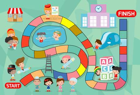 board game with kids back to school, Illustration of a board game with back to school  background, kid board game, child board game, board game with kids, board game with children, board game of kids.  イラスト・ベクター素材