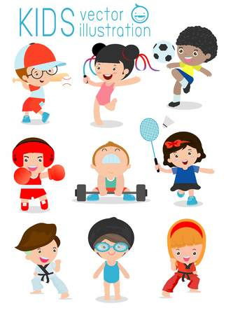 cartoon ball: Kids playing various sports Illustration