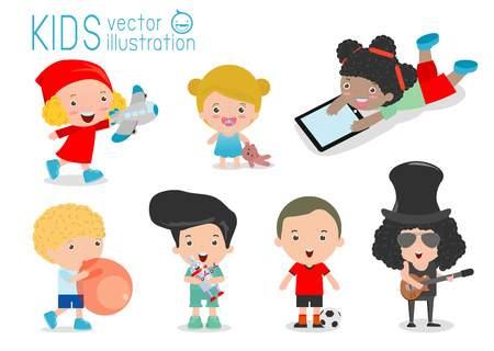kinder garden: happy kids with toys