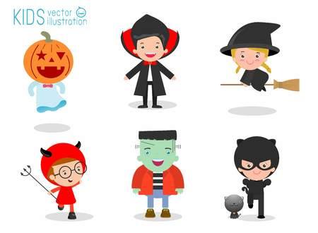 Niños lindos vestidos traje del monstruo de Halloween en el fondo blanco, feliz Halloween, fiesta de Halloween, traje monstruo de Halloween que lleva infantil, los niños de Halloween, los niños de Halloween, ilustración vectorial Ilustración de vector
