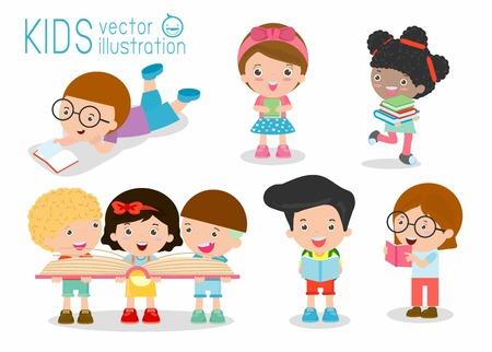 Vector children: trẻ em dễ thương đọc sách, trẻ em dễ thương đọc sách, Happy Children trong khi đọc sách, trẻ em trong khi đọc sách, trẻ em Đọc Sách Vector Illustration trên nền trắng. Hình minh hoạ