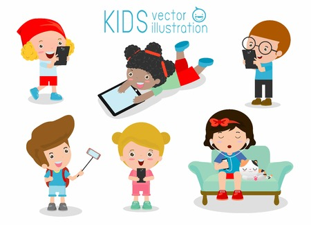 mobile application: kids with gadgets, Kids Characters Boy and Girl with Mobile,children with gadgets, kid Tablet, People with their gadgets, children Tablet, kids with Mobile, child with Mobile, Vector Illustration.