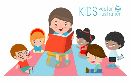 tell stories: cute Kids Listening to Their teacher Tell a Story, reading books, teacher reading books for child in the kindergarten, teacher and kids, Children enjoy listening to stories teacher reading books Illustration