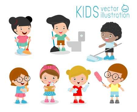 hacer: niños haciendo la limpieza, lavado y niños limpieza de la casa, los miembros de los niños realizando diferentes tareas de la ilustración, la limpieza del niño, cabritos limpieza, juego de niños lindos Para hacer las tareas domésticas en el fondo blanco Vectores