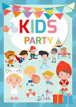 children party: Kids Party design template, children happy party celebration Flyer, Banner or pamphlet, Template for advertising brochure,your text ,Cute little kid party, kid party, child party, Vector Illustration.
