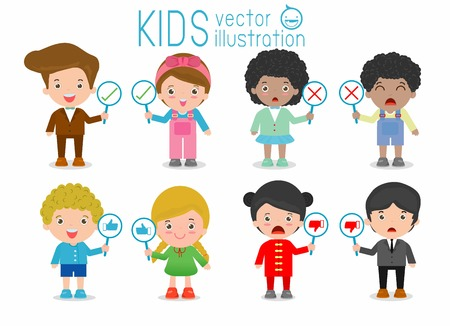 asian man smiling: kids have a plate of sign to answer correct or incorrect, kids hand thumb up with true and false sign,Vector illustration of positive and negative feedback, child and sign, kids and sign, kids sign Illustration