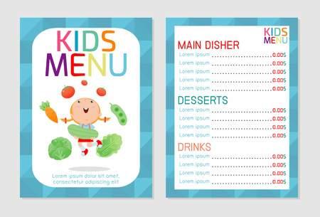 Cute colorful kids meal menu vector template, kids menu, Cute colorful kids meal menu design, children menu, menu for kids template, Cafe menu for kids, template design.Vector illustration, menu kids. Ilustração