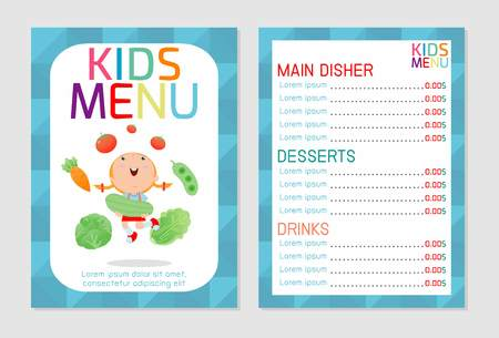 Cute colorful kids meal menu vector template, kids menu, Cute colorful kids meal menu design, children menu, menu for kids template, Cafe menu for kids, template design.Vector illustration, menu kids. Vectores