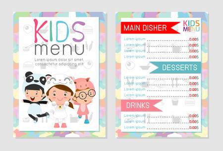 Cute colorful kids meal menu vector template, kids menu, Cute colorful kids meal menu design, children menu, menu for kids template, Cafe menu for kids, template design.Vector illustration, menu kids. Stock Vector - 60842699