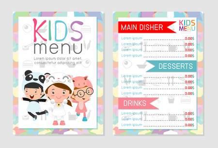 Cute colorful kids meal menu vector template, kids menu, Cute colorful kids meal menu design, children menu, menu for kids template, Cafe menu for kids, template design.Vector illustration, menu kids. Stock Illustratie