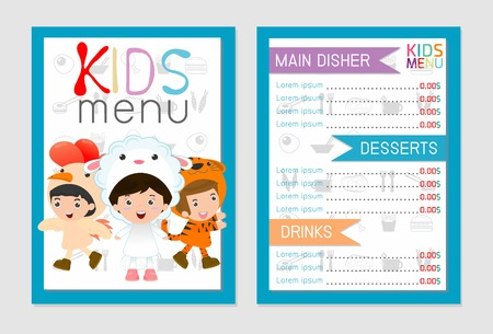 pastry chef: Cute colorful kids meal menu vector template, kids menu, Cute colorful kids meal menu design, children menu, menu for kids template, Cafe menu for kids, template design.Vector illustration, menu kids. Illustration