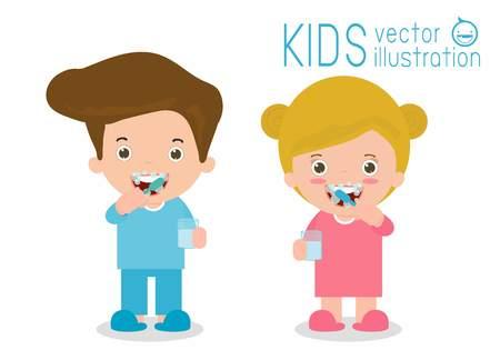 Kids caring for teeth, kids brushing teeth, boy and girl brushing teeth, kids with toothbrush, Children cleaning tooth with toothbrush, brushing teeth child, Vector Illustration