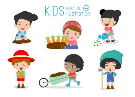 volunteering: kids workings in a vegetable garden, Children working in a vegetable garden, kids volunteering in the farm garden, kids life in garden creative, farmer child profession, kids in the farm Vector