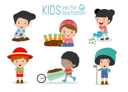 jardin de infantes: niños labores en una huerta, los niños que trabajan en un huerto, niños voluntarios en el jardín de la granja, los niños en el jardín de la vida creativa, agricultor profesión niño, niños en la granja vectorial
