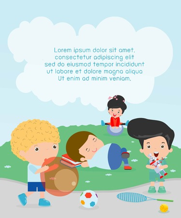 happy kids with toys at playground, kids time, Children playing in the playground, child with toys at playground, kids with toys at parks, kids outdoor, children playing, Vector Illustration
