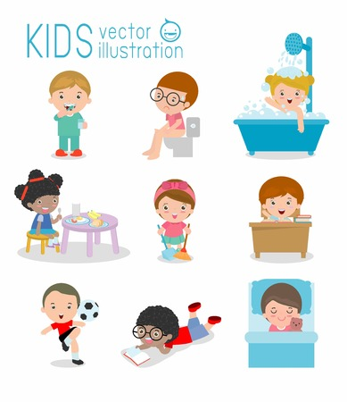 daily routine, daily routine of happy kids, Health and hygiene, daily routines for kids, daily routine of child, Little child daily activities, Daily Routine Vector set with cute kids Vector Illustration.