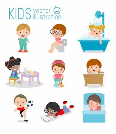 higiene: la rutina diaria, la rutina diaria de los niños felices, salud e higiene, las rutinas diarias para los niños, la rutina diaria del niño, las actividades diarias del niño Pequeños, Vector set rutina diaria con los niños lindos ilustración vectorial.