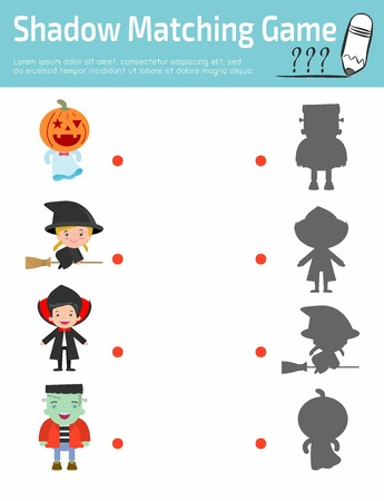 preliminary: Shadow Matching Game for kids, Visual game for children,  Cute child wearing Halloween monster costume.  Connect the dots picture, Education Vector Illustration. puzzle Illustration
