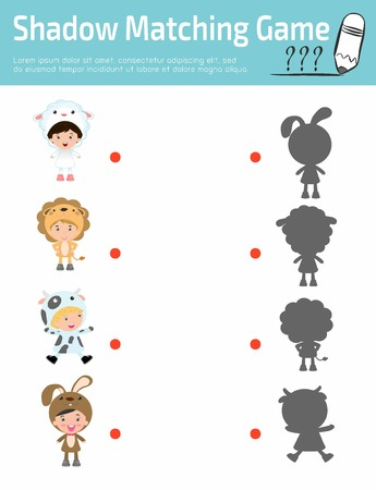 joining the dots: Shadow Matching Game for kids, Visual game for children, child wearing animal costumes, Connect the dots picture,Education Vector Illustration. puzzle