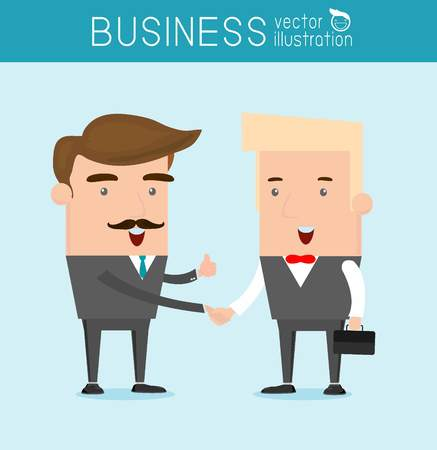 promising: business partners handshaking, Hipster Businessman shaking hands Vector Illustration