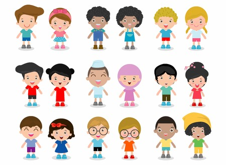 americas: Set of diverse kids isolated on white background. Different nationalities and dress styles. European children, Americas kids, Asian child, African kid, happy children boy and girl,Vector Illustration