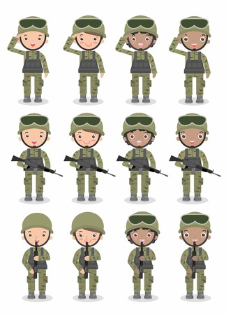 set of soldiers. men and women. flat cartoon character design isolated on white background. US Army Isolated illustration. Vettoriali
