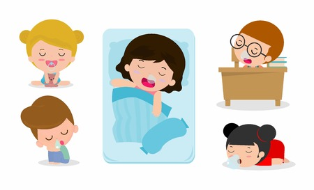 tired: set of kid sleeping  on white background, children resting at home, Couch and child Vector illustration Illustration