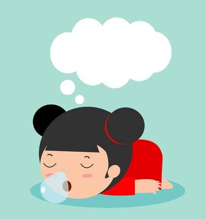 kid sleeping at home on background Illustration