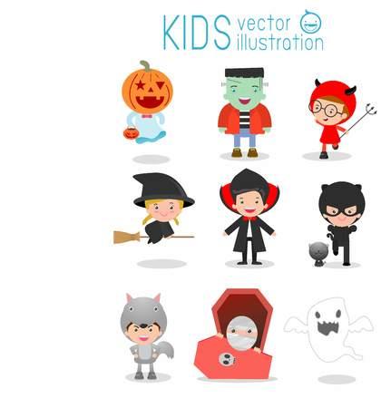 Cute Kids Wearing Halloween Monster Costume On White Background 로열티 무료 사진, 그림, 이미지 그리고 스톡포토그래피. Image 63045712. - 웹