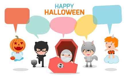 kids background: Cute kids wearing Halloween monster costume with speech bubbles isolated on white background Illustration
