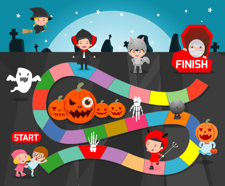 board game with Halloween,Games for kids, child board game Illustration Zdjęcie Seryjne - 63046906