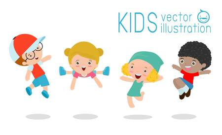 happy kids cartoon: Kids jumping with joy, Multi-ethnic children jumping, happy cartoon child playing  on white background ,Vector illustration