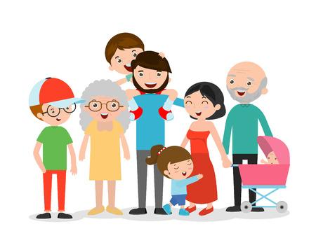 Große Familie Asien auf weißem Hintergrund, Großvater, Großmutter, Mutter, Vater, Mädchen, Junge, Kinder, Kinder, Glückliche Familie Vektor-Illustration Vektorgrafik