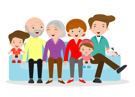 Big family sitting on the sofa on white background , Grandfather, grandmother,mother, father, girl, boy,children,kids, Happy christmas family Vector illustration