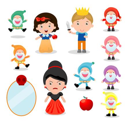 Schneewittchen und die sieben Zwerge, Schneewittchen auf weißem Hintergrund, Prinz, Prinzessin und Zwerge und Hexe, Vektor-Illustration