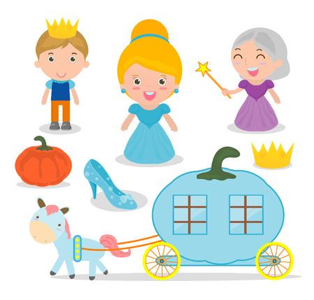Cinderella vector illustration set on white background