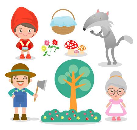 caperucita roja: Conjunto de personajes de cuento de hadas Caperucita Roja sobre fondo blanco, ilustración vectorial